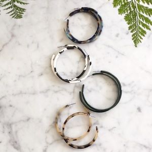 Large Acrylic Hoop Earrings - set of 4